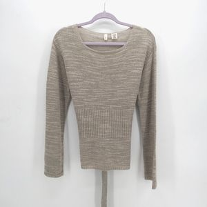 Moth Lightweight Oatmeal Sweater w Back Waist Tie